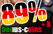 Only today: 89% extra coins plus X!